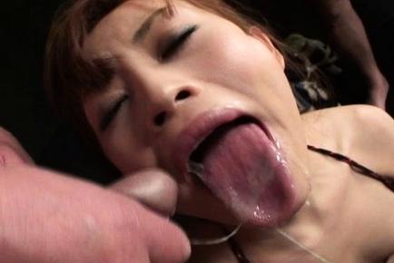 Mina Yoshihara Asian gal in a wild orgy