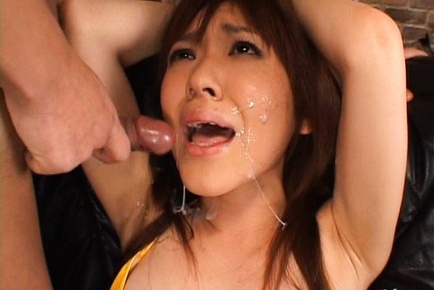 Mao Saito in Sexy Yellow Stockings gets her pussy lips spread wide open