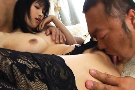 Mio Kanna Asian babe in sexy lingerie is fucked by two guys