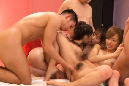 Japanese babes in wicked gangbang sex action