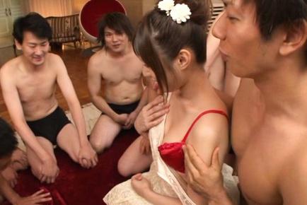 Seductive Rina Rukawa is involved to rough gangbang party