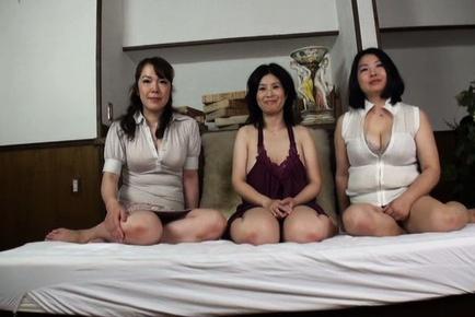 Savory Asian mature sweeties worship young hard boner