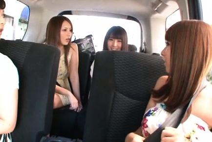 Steamy Asian girl Satou Haruka and her friends enjoy gangbang