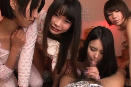 Kinky Asian babe Riku Minato with tantalizing curves share big cock