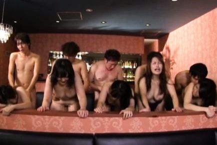 Horny Asian chicks get involve into a nasty gangbang