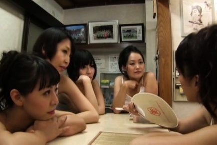 Cute Japanese milfs meet horny guys in a bath and arrange group sex