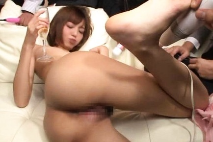 Sexy Asian milf Aino Kishi is in a gangbang playing with toys