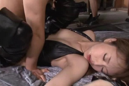 Two sexy milfs in black leather lingerie fuck with their boyfriends