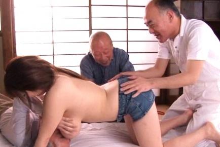 Three old guys attack sexy body of amazing sex diva Ran Niiyama