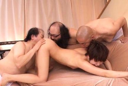 Pretty short-haired milf Nanami Kawakami teased by a group of guys