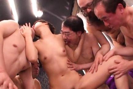 Sweet Japanese chick with small tits Nanami Kawakami in a gangbang action